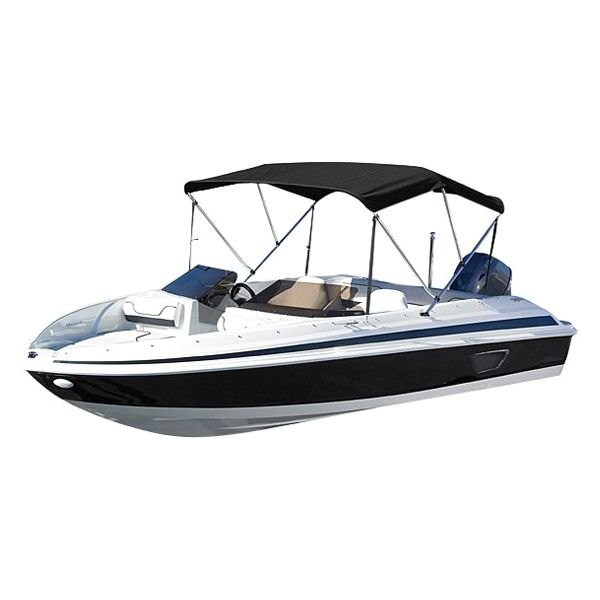 "BIMINI TOP BOAT COVER GREY 3 BOW 72/""L 46/""H 61/""-66/""W  W// BOOT /& REAR POLES"