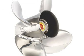 "SOLAS Propellers® - HR Titan 4 Series 14-1/4""D x 17""P LH Rotation 4-Blade Stainless Steel Thru Hub Exhaust Propeller with 15 Tooth Spline Hub"